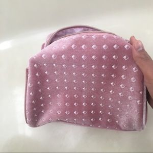 NWT large baby pink studded makeup cosmetic bag